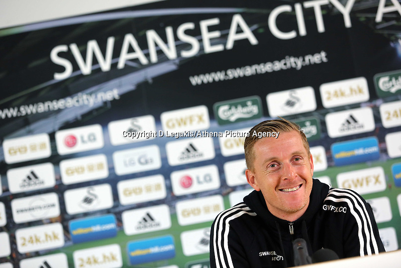 Swansea, UK. Thursday 30 October 2014<br /> Pictured: Manager Garry Monk. <br /> Re: Swansea City FC press conference ahead of their Premier League game against Everton. Liberty Stadium, UK.
