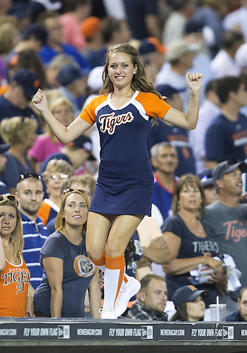 June 17, 2014:  Detroit Tigers Energy Squad member during MLB game action between the Kansas City Royals and the Detroit Tigers at Comerica Park in Detroit, Michigan.  The Royals defeated the Tigers 11-4.