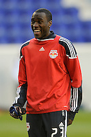 Tony Tchani (23) of the New York Red Bulls during warmups prior to a Major League Soccer match between the New York Red Bulls and the Chicago Fire at Red Bull Arena in Harrison, NJ, on March 27, 2010. The Red Bulls defeated the Fire 1-0.