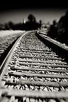 Black and white of railroad tracks leading into the distance