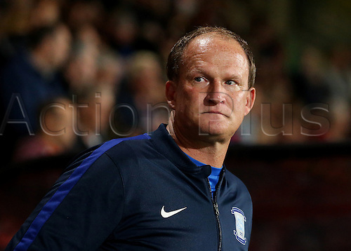 20.09.2016. Vitality Stadium, Bournemouth, England. Football League Cup Football. Bournemouth versus Preston. Preston Manager Simon Grayson prepares for kick off