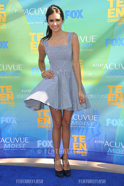 Nina Dobrev arrives at the 2011 Teen Choice Awards at the Gibson Amphitheatre, Universal Studios, Hollywood..August 7, 2011  Los Angeles, CA.Picture: Paul Smith / Featureflash