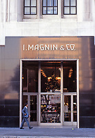 Los Angeles:  I. Magnin & Co. All marble building designed by architect Myron Hunt. Steel entrance. 1939.