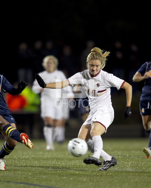 "Boston College forward Kristen Mewis (19) shoots the ball. Boston College defeated West Virginia, 4-0, in NCAA tournament ""Sweet 16"" match at Newton Soccer Field, Newton, MA."