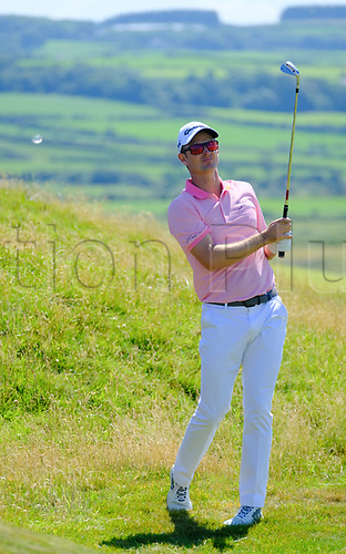 July 8th 2017, Portstewart Golf Club, Portstewart, Northern Ireland; Dubai Duty Free Irish Open Golf Championship, Day 3; Justin Rose (ENG) with his second shot on the 16th during the third round of the Dubai Duty Free Irish Open; Rose sitting on -13 at end of 3rd round
