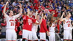 SIOUX FALLS, SD: MARCH 6: The South Dakota bench reacts after a score against South Dakota State during the Summit League Basketball Championship on March 6, 2017 at the Denny Sanford Premier Center in Sioux Falls, SD. (Photo by Dave Eggen/Inertia)