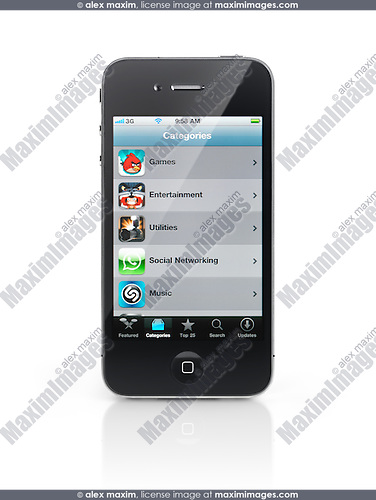 Apple iPhone 4 smartphone with App Store menu on its display isolated with clipping path on white background. High quality photo.