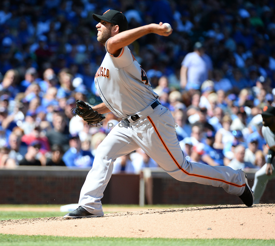 San Francisco Giants Madison Bumgarner (40) during a game against the Chicago Cubs on September 3, 2016 at Wrigley Field in Chicago, IL. The Giants beat the Cubs 3-2.