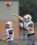 Dupo quarterback C.J. Robinson passes. Wesclin defeated Dupo 34-30 on Saturday August 31, 2019 in a game that was stopped Friday night at halftime due to storms. <br /> Tim Vizer/Special to STLhighschoolsports.com