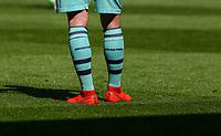 The socks of Arsenal's Shkodran Mustafi<br /> <br /> Photographer Alex Dodd/CameraSport<br /> <br /> The Premier League - Burnley v Arsenal - Sunday 12th May 2019 - Turf Moor - Burnley<br /> <br /> World Copyright © 2019 CameraSport. All rights reserved. 43 Linden Ave. Countesthorpe. Leicester. England. LE8 5PG - Tel: +44 (0) 116 277 4147 - admin@camerasport.com - www.camerasport.com