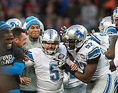 26.10.2014.  London, England.  NFL International Series. Atlanta Falcons versus Detroit Lions. Lions' K Matt Prater [5] is mobbed after his last minute field goal.