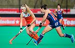 ROTTERDAM - Yibbi Jansen (Ned)  met Laura Hurff (USA)   tijdens de Pro League hockeywedstrijd dames, Netherlands v USA (7-1)  .  COPYRIGHT  KOEN SUYK
