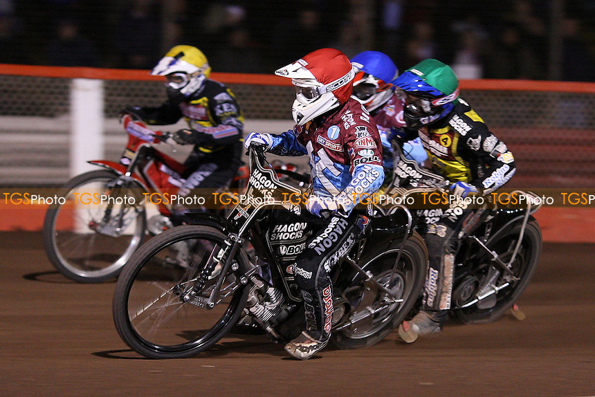 Heat 15: Richardson (red), Shields (blue), Kennett (green) and Barker  - Lakeside Hammers vs Coventry Bees - Elite League Knockout Cup Final 1st Leg at Arena Essex Raceway - 14/10/09 - MANDATORY CREDIT: Gavin Ellis/TGSPHOTO - Self billing applies where appropriate - Tel: 0845 094 6026