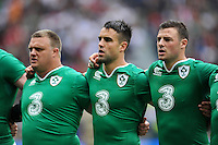Conor Murray of Ireland during the anthems. QBE International match between England and Ireland on September 5, 2015 at Twickenham Stadium in London, England. Photo by: Patrick Khachfe / Onside Images