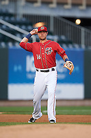 Harrisburg Senators third baseman Matt Skole (16) throws to first during a game against the New Hampshire Fisher Cats on July 21, 2015 at Metro Bank Park in Harrisburg, Pennsylvania.  New Hampshire defeated Harrisburg 7-1.  (Mike Janes/Four Seam Images)