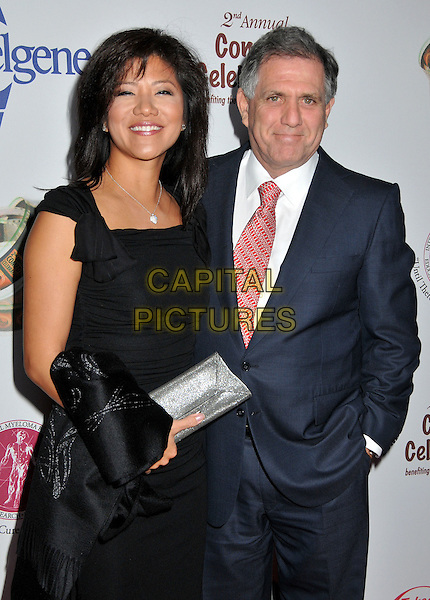 JULIE CHEN & LESLIE MOONVES, President of CBS.2nd Annual Peter Boyle Comedy Celebration at the Wilshire Ebell Theatre, Los Angeles, CA, USA, .15 November 2008 .half length black dress red tie blue navy suit .CAP/ADM/BP.©Byron Purvis/Admedia/Capital PIctures