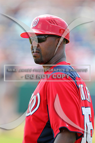 Washington Nationals Bo Porter #16 during a spring training game against the Florida Marlins at Spacecoast Stadium on March 27, 2011 in Melbourne, Florida.  Photo By Mike Janes/Four Seam Images