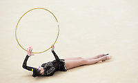 11 AUG 2012 - LONDON, GBR - Alina Maksymenko (UKR) of Ukraine performs her hoop routine during the 2012 London Olympic Games Individual All-Around Rhythmic Gymnastics final at Wembley Arena in London, Great Britain (PHOTO (C) 2012 NIGEL FARROW)