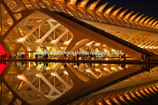 Museo de les Ciencies Principe Felipe at night; in the City of Arts and Sciences complex built in the former riverbed of Turia river; designed by Sanitago Calatrava