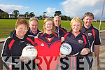JERSEYS: Members of the Glenbeigh-Glencar GAA Club unveiling the new club jersey and gear which is now on sale in aid of the Bord na n-Og players, front l-r: Breda O'Sullivan, Joan McGillycuddy (Secretary), Majella Horan. Back l-r: Jimmy Healy (Chairman), Donal O'Neill, Gene McGillycuddy.