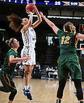 SIOUX FALLS, SD - MARCH 8: Atoe' Jackson #0 of Oral Roberts attempts a jumper over Holly Johnson #12 of North Dakota State in the first half of their first round Summit League Championship Tournament game Sunday afternoon at the Denny Sanford Premier Center in Sioux Falls, SD. (Photo by Dick Carlson/Inertia)
