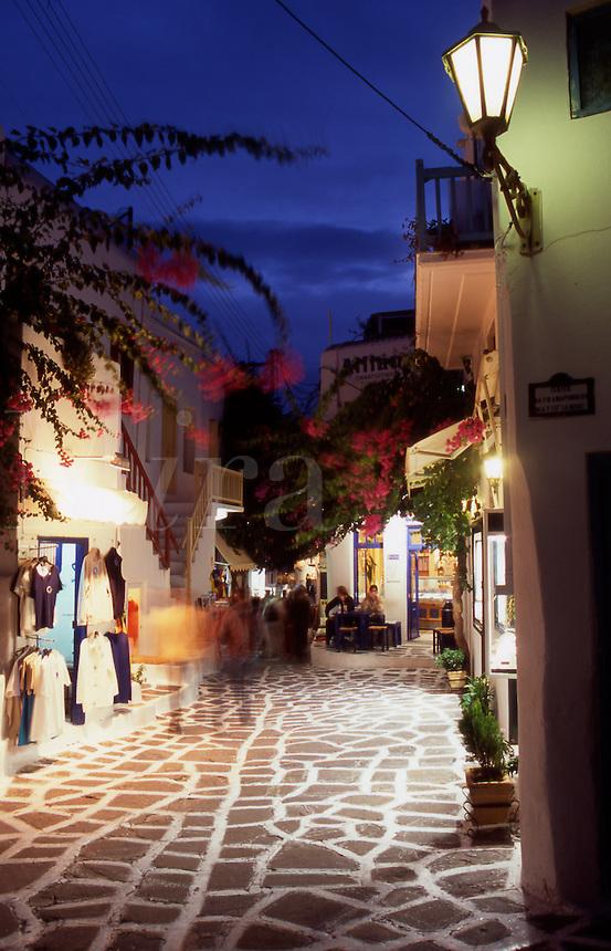 Greece. Mykonos. An alleyway in Mykonos Town at night.