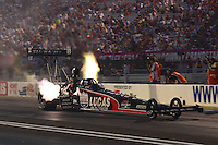 Aug. 31, 2012; Claremont, IN, USA: NHRA top fuel dragster driver Bruce Litton during qualifying for the US Nationals at Lucas Oil Raceway. Mandatory Credit: Mark Rebilas-