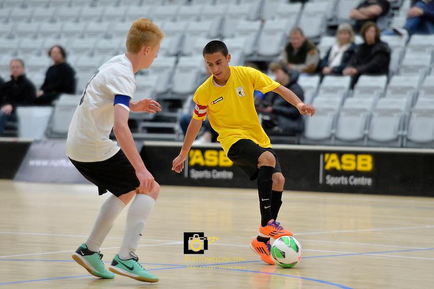 Action from the Futsal Boys 16's Final - National Youth Championships at ASB Sports Centre, Wellington, New Zealand on Sunday 13 July 2014. <br /> Photo by Masanori Udagawa. <br /> www.photowellington.photoshelter.com.