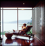 The outdoor Spa at Salishan Lodge overlooks Siletz Bay, Lincoln City, OR