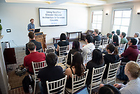 Max Marion '18.<br /> Occidental College's Computer Science Department hosts their first ever senior comps on April 13, 2018 in Morrison Lounge of the Johnson Student Center.<br /> (Photo by Marc Campos, Occidental College Photographer)