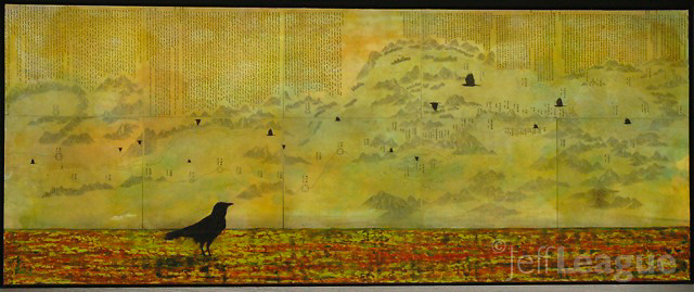 Mixed media encaustic photo painting of crow on red ground with crows and antique map of China in background sky.