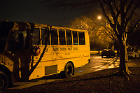 Buses parked in the early morning hours at Southeastern Raleigh Magnet High School in Raleigh, NC on Friday, March 31, 2017. (Justin Cook for The Wall Street Journal)<br /> <br /> BUSES Summary<br /> A shortage of school bus drivers is forcing one of North Carolina&rsquo;s largest school districts to consider starting class as early as 7:10 a.m. and as late as 9:15 a.m. this fall, to give the limited number of drivers time to do three or more runs each morning.
