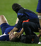 A French player lies injured on the ground during the first international rugby test at Eden Park, Auckland, New Zealand, Saturday, June 02, 2007. The All Blacks beat France 42-11.