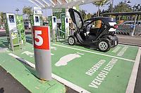 - rapid charging station for electric cars at the mall Iper in Monza; Renault Twizy car<br /> <br /> - stazione di ricarica rapida per automobili elettriche presso il centro commerciale Iper di Monza; auto Renault Twizy