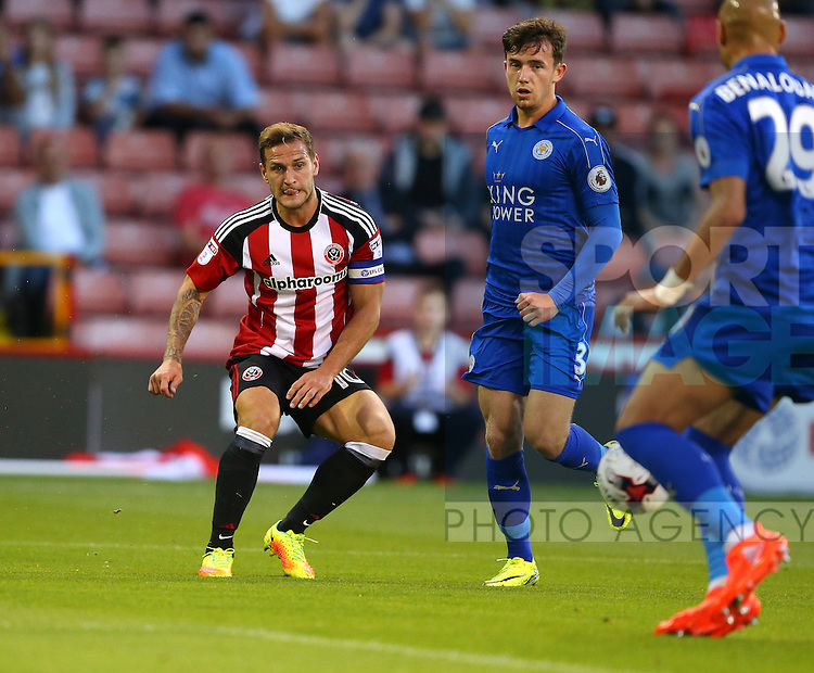 Billy Sharp of Sheffield Utd plays the ball into the box during the Checkatrade Trophy match at Bramall Lane Stadium, Sheffield. Picture date: August 30th, 2016. Pic Simon Bellis/Sportimage