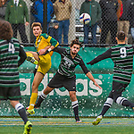 15 November 2015: Binghamton University Bearcat Forward Nikos Psarras, a Freshman from Malesina, Greece, in action against the University of Vermont Catamounts at Virtue Field in Burlington, Vermont. The Bearcats fell to the Catamounts 1-0 in the America East Championship Game. Mandatory Credit: Ed Wolfstein Photo *** RAW (NEF) Image File Available ***