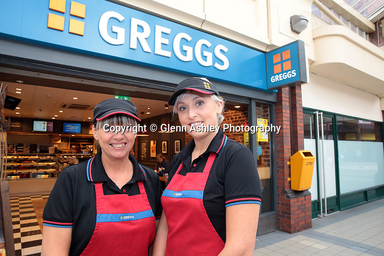 Andrea and Lauren Tomlinson who both work as Greggs store managers in Rotherham, United Kingdom, 4th October 2018. Photo by Glenn Ashley.