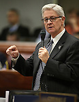 Nevada Assemblyman Erven Nelson, R-Las Vegas, speaks in support of Gov. Brian Sandoval's $1.1 billion tax plan during the Assembly floor debate at the Legislative Building in Carson City, Nev., on Sunday, May 31, 2015. The Assembly approved the plan 30-10 after a two-hour passionate debate. <br /> Photo by Cathleen Allison