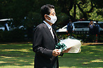 Japanese Prime Minister Shinzo Abe visits the Chidorigafuchi National Cemetery to lay flowers on 75th Anniversary of World War II in Tokyo, Japan, on 15 August 2020.(Photo by Motoo Naka/AFLO)