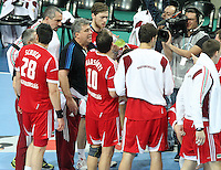 12.01.2013 Barcelona, Spain. IHF men's world championship, Quarter-Final. Picture show Hungary time out during game between Denmark vs Hungary at Palau ST Jordi