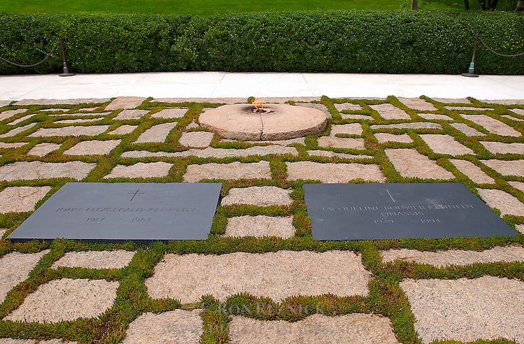 John F. Kennedy and Jaqueline Bouvier Kennedy gravesites and Eternal Flame, Arlington National Cemetery, Arlington, Virginia
