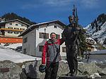 John Kieffer with Hannes Schneider statue, Stuben, St Anton, Austria.
