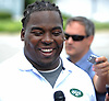 Steve McLendon, New York Jets defensive lineman, laughs as he speaks with the media on the day players reported to training camp at the Atlantic Health Jets Training Center in Florham Park, NJ on Friday, July 28, 2017.