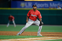 Pawtucket Red Sox first baseman Josh Ockimey (30) during an International League game against the Rochester Red Wings on June 28, 2019 at Frontier Field in Rochester, New York.  Pawtucket defeated Rochester 8-5.  (Mike Janes/Four Seam Images)