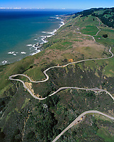 aerial photograph of US Highway 1 winding along the Pacific Coast, Sonoma County, California