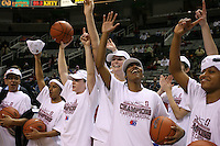5 March 2007: Rosalyn Gold-Onwude, Markisha Coleman, Clare Bodensteiner, Jayne Appel, Candice Wiggins, and Melanie Murphy celebrate during Stanford's 62-55 win over ASU in the finals of the women's Pac-10 tournament championship at HP Pavilion in San Jose, CA.