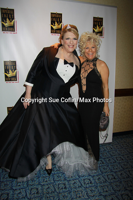 "One Life To Live's Ilene Kristen poses with Comedian Lisa Lampanelli (Celebrity Apprentice) attended the Imperial Court of New York's 26th ""Night of a Thousand Gowns"" on March 31, 2012 at the New York Marriott Marquis, New York City, New York.  (Photo by Sue Coflin/Max Photos)"