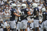 01 September 2012:  Penn State LBs Michael Mauti (42), Glenn Carson (40), and Gerald Hodges (6).  The Ohio Bobcats defeated the Penn State Nittany Lions 24-14 at Beaver Stadium in State College, PA..