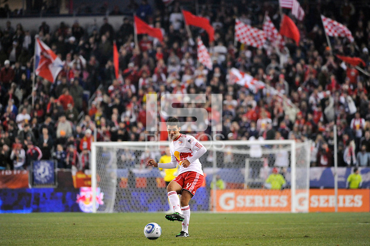 Rafa Marquez (4) of the New York Red Bulls. The New York Red Bulls defeated the Seattle Sounders 1-0 during a Major League Soccer (MLS) match at Red Bull Arena in Harrison, NJ, on March 19, 2011.