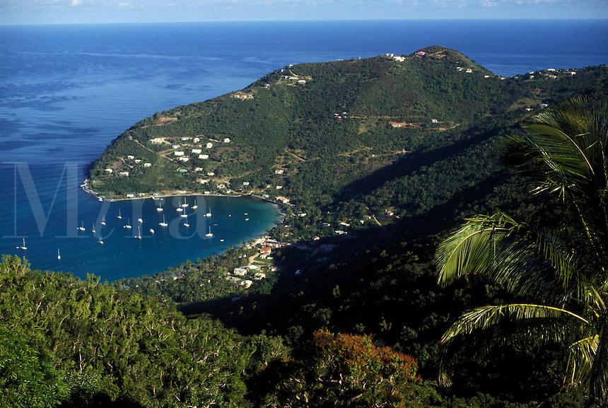 AJ2384, British Virgin Islands, Tortola, Caribbean, Virgin Islands, B.V.I., BVI, Scenic aerial view of Cane Garden Bay on the island of Tortola on the British Virgin Islands.
